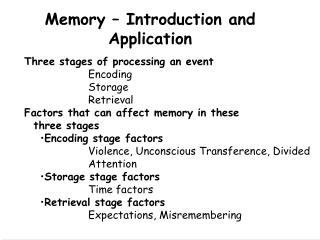 Memory � Introduction and Application