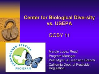 Center for Biological Diversity vs. USEPA GOBY 11