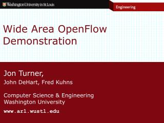 Wide Area OpenFlow Demonstration