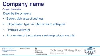 Describe the company Sector, Main area of business