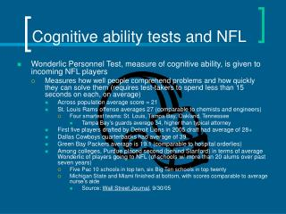 Cognitive ability tests and NFL