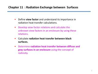 Chapter 11  : Radiation Exchange between  Surfaces
