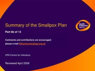 Summary of the Smallpox Plan