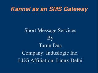 Kannel as an SMS Gateway