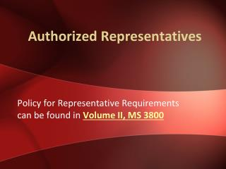 Authorized Representatives