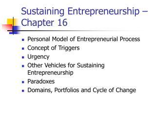 Sustaining Entrepreneurship – Chapter 16