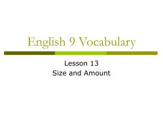 English 9 Vocabulary