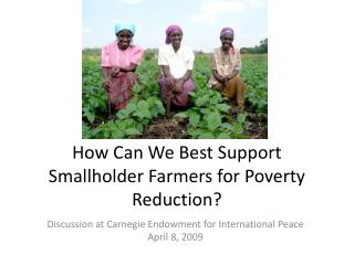 How Can We Best Support Smallholder Farmers for Poverty Reduction?