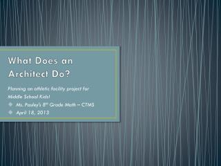 What Does an Architect  D o?