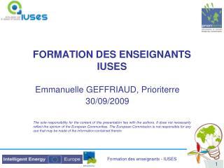 FORMATION DES ENSEIGNANTS IUSES