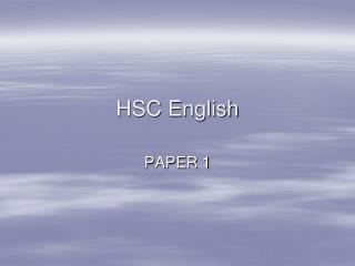 HSC English