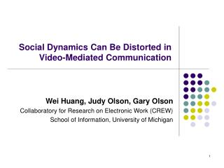 Social Dynamics Can Be Distorted in Video-Mediated Communication