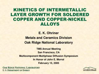 KINETICS OF INTERMETALLIC LAYER GROWTH FOR SOLDERED COPPER AND COPPER-NICKEL ALLOYS