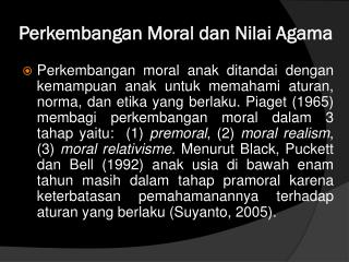 Perkembangan Moral dan Nilai Agama