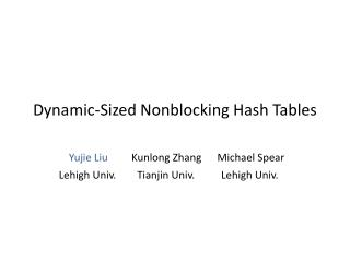 Dynamic-Sized  Nonblocking  Hash Tables