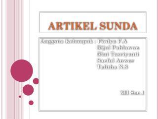 ARTIKEL SUNDA