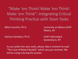 Critical Thinking Workshop