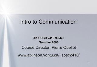 Intro to Communication