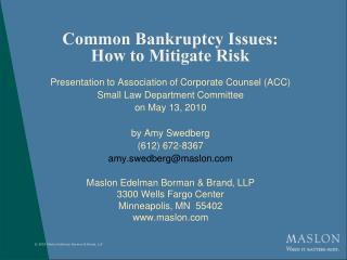 Common Bankruptcy Issues: How to Mitigate Risk