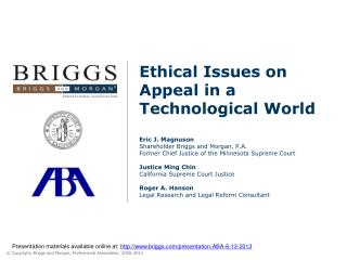 Presentation materials available online at:  briggs/presentation-ABA-6-13-2013