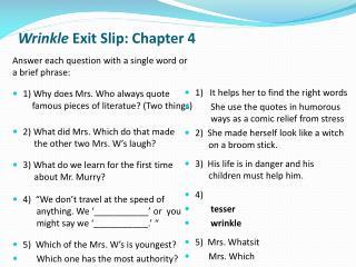 Wrinkle  Exit Slip: Chapter 4