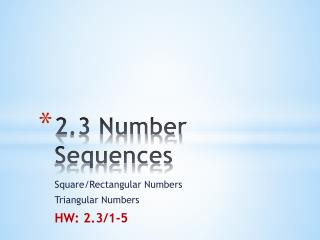 2.3 Number Sequences