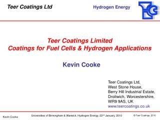 Teer Coatings Limited Coatings for Fuel Cells & Hydrogen Applications