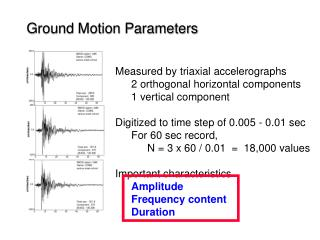 Ground Motion Parameters