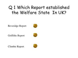 Q 1 Which Report established the Welfare State  In UK