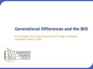 Generational Differences and the BHS