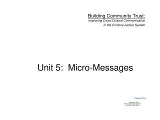 Unit 5:  Micro-Messages
