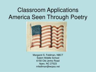 Classroom Applications America Seen Through Poetry