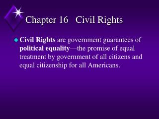 Chapter 16   Civil Rights