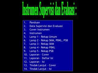 Panduan Data Supervisi dan Evaluasi Cover Instrumen Instrumen Lamp 1 - Rekap Umum