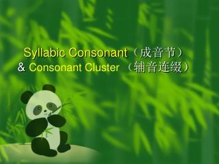 Syllabic Consonant ( 成音节) &  Consonant Cluster ( 辅音连缀)