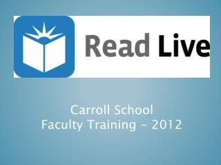 Carroll School  Faculty Training - 2012