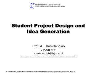 Student Project Design and Idea Generation