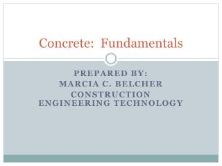 Concrete:  Fundamentals
