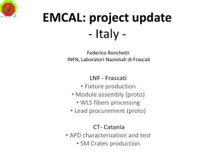 EMCAL: project update - Italy -