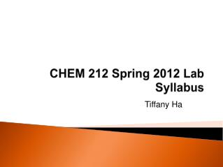 CHEM 212 Spring 2012 Lab Syllabus