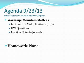 Agenda 9/23/13 classroom.kleinisd/webs/pgreen