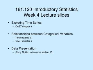 161.120 Introductory Statistics  Week 4 Lecture slides