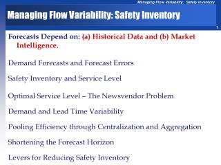 Managing Flow Variability: Safety Inventory