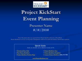 Project KickStart Event Planning