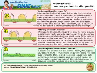 Healthy Breakfast. Learn how your breakfast affect your life.