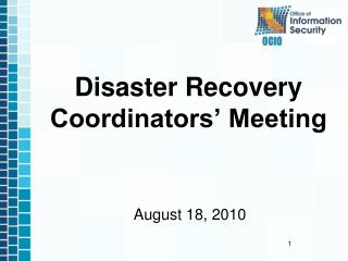 Disaster Recovery Coordinators� Meeting