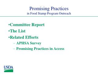 Promising Practices in Food Stamp Program Outreach