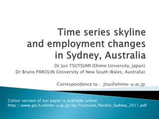 Time series skyline  and  employment changes  in  Sydney, Australia