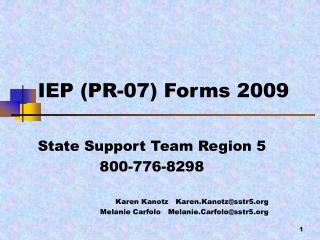 IEP PR-07 Forms 2009
