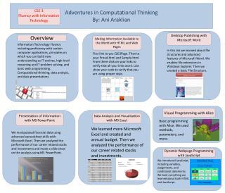 Adventures in Computational Thinking By:  Ani Araklian
